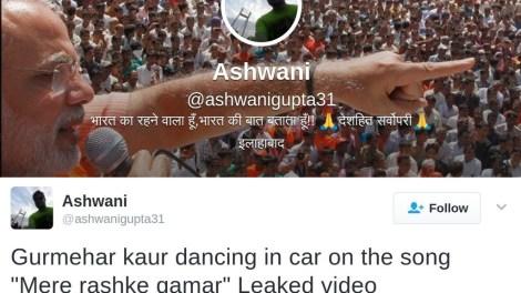 Modi supporter ciculates fake gurmehar kaur dance video