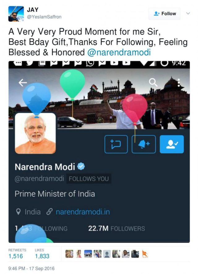 Jay Iamsaffron followed by Modi on his birthday
