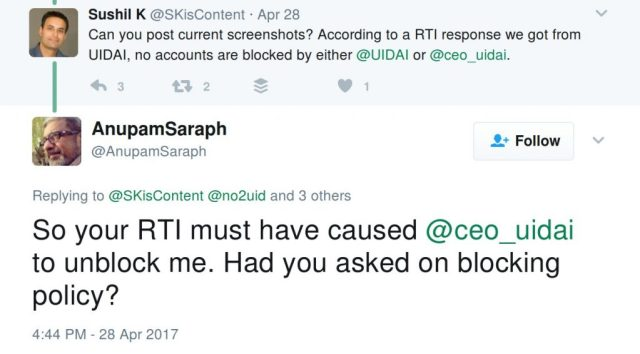 So your RTI must have caused @ceo_uidai to unblock me