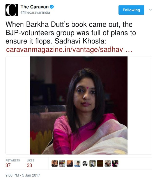 Sadhvi Khosla WHen Barkha Dutt's book came out, the BJP-volunteers group was full of plans to ensure it flops. Sadhavi Khosla.