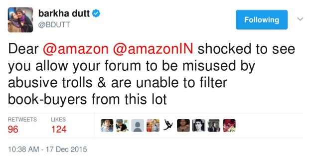 Barkha Dutt's tweet about amazon platform being misused by trolls