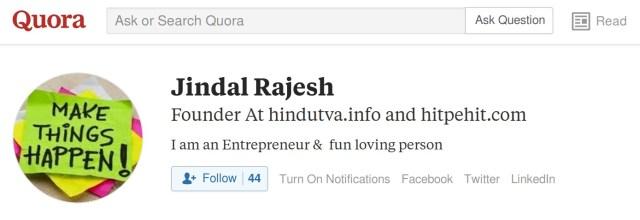 Rajesh Jindal Hindutva.info founder quora account