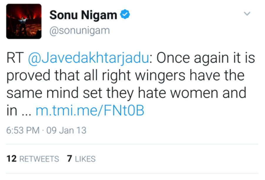 Sonu Nigam: Once again it is proved that all right wingers have the same mind set they hate women and in the name of honour subjugate and enslave them