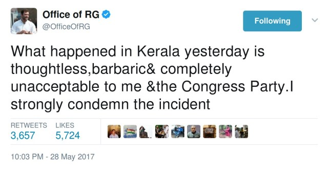 Rahul Gandhi: What happened in Kerala yesterday is thoughtless,barbaric& completely unacceptable to me &the Congress Party.I strongly condemn the incident
