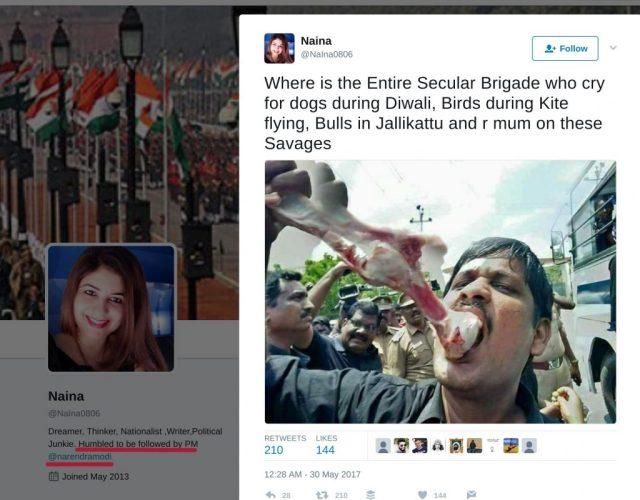 Naina tweeting the morphed image