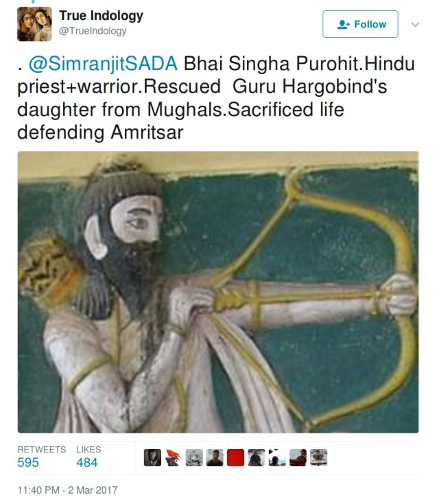 TrueIndology Bhai Singh Purohit Hindu priest warrior resuced Guru Hargobind's daughter from Mughals Sacrified life defending Amritsar