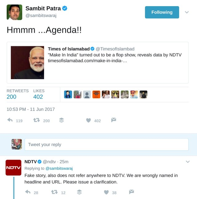 Sambit Patra tweeting Times of Islamabad article