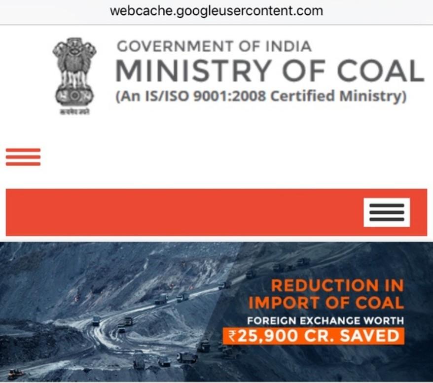 Screenshot of Ministry of Coal website