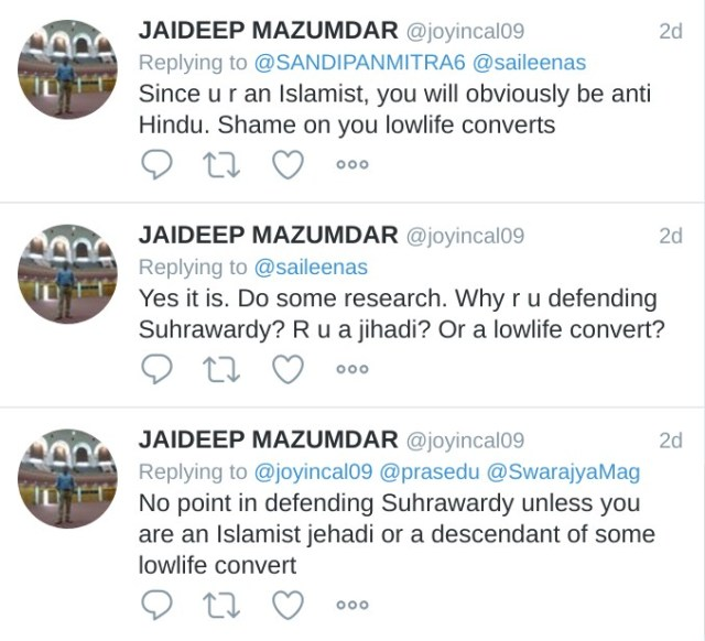Jaideep Mazumdar Since u a an islamist, you will obviously be anti Hindu. Shame on you lowlife converts. Yes it is. Do some research. Why r u defending Suhrawardy? R u a jihadi? Or a lowlife convert? No point in defending Suhrawardy unless you are an islamist jehadi or a descendant of some lowlife convert.