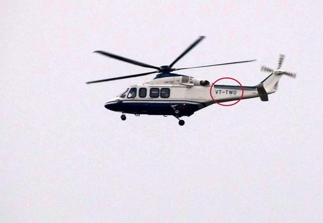 A helicopter believed to be carrying Gurmeet Ram Rahim flies over Rohtak on Friday. (PTI)