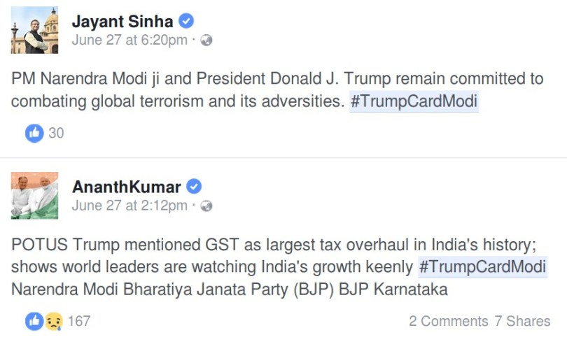 Ministers tweeting with #TrumpCardModi hashtag