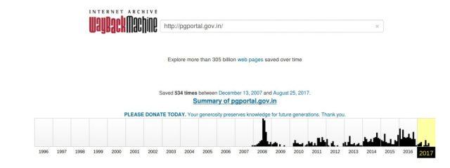 Wayback machine screenshot pgportal.gov.in