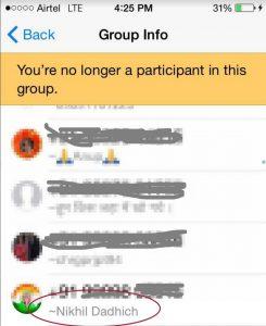 Nikhil Dadhich in WhatsApp Group