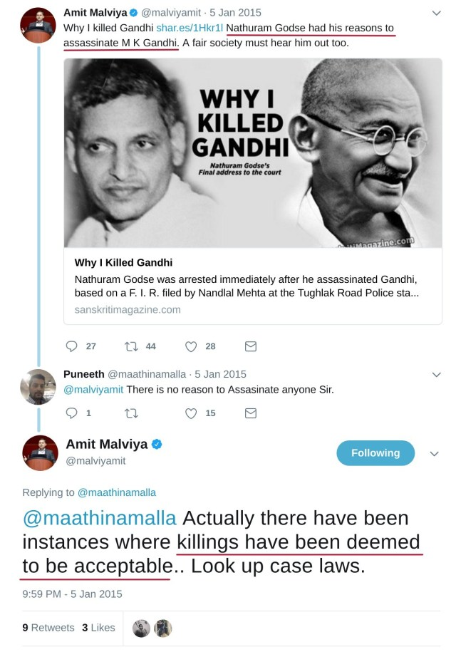 These are the thoughts of BJP National IT Cell head vis-a-vis Gandhiji's assassination