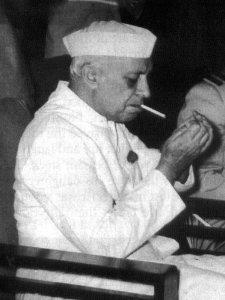 Nehru smoking