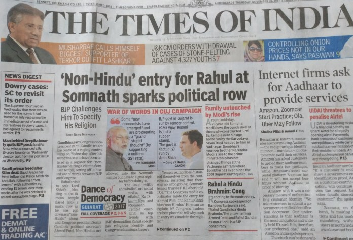TOI lead story
