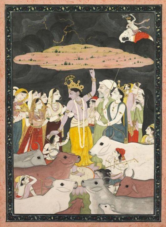 Kangra Painting Krishna Lifting Mt Govardhana C 1780 1790 India Pahari Hills