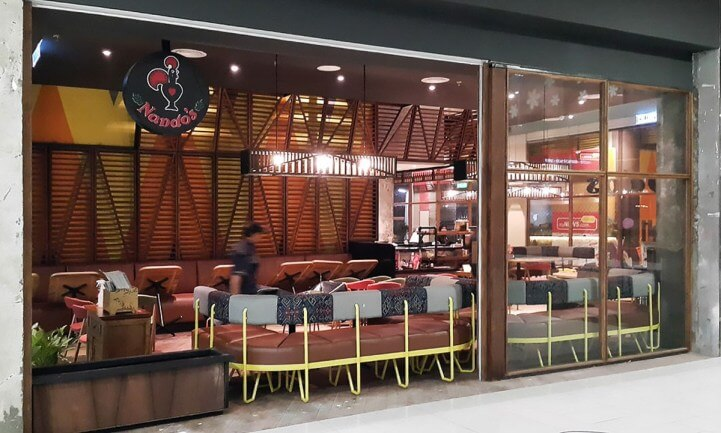 Nando's Vivacity Renovation and Furniture Fitting Works | Timber Frame and Tempered Glass