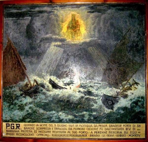 Tabella votiva per la madonna di Barbana raffigurante un naufragio