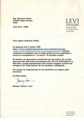Lettera di Renato Sonny Levi al Registro Storico Carene Levi