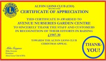 Letter: Certificate of Appreciation to Avenue Nurseries Garden Centre