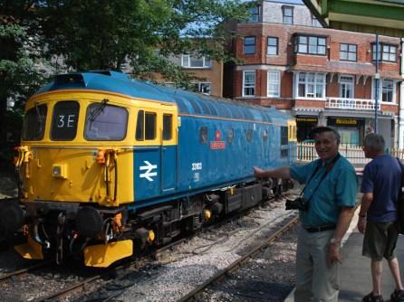 Denis Stevens spots Diesel loco 'Swordfish'.