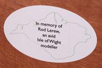 Dedication plaque of Merstone to Rod Lerew