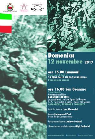 Domenica 12 novembre a Palazzo Boccella si presenta il libro Agostino Cadonici un carabiniere con i partigiani del gruppo S.T.S