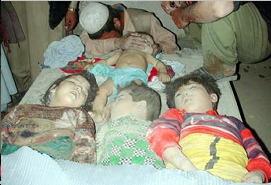 Alcuni dei bambini uccisi dalle bombe del presidente massone e petroliere W. Bush