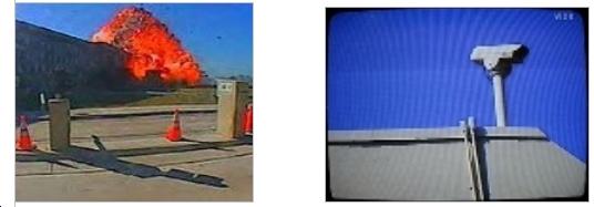 Uno dei pochi  fotogrammi ripresi  da una telecamera di sorveglianza
