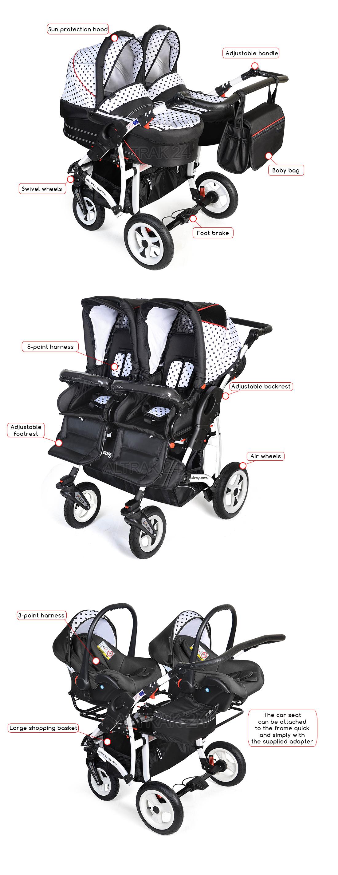 Twin Pushchair Double Buggy Duo Stroller Pram Car Seats