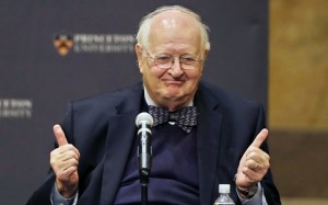 "Angus Deaton gestures at a gathering at Princeton University after it was announced that he won the Nobel prize in economics for improving understanding of poverty and how people in poor countries respond to changes in economic policy, Monday, Oct. 12, 2015, in Princeton, N.J. Deaton, 69, won the 8 million Swedish kronor (about $975,000) prize from the Royal Swedish Academy of Sciences for work that the award committee said has had ""immense importance for human welfare, not least in poor countries."" (AP Photo/Mel Evans)"