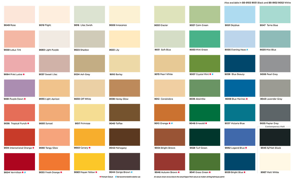Nippon Paint Colour Chart