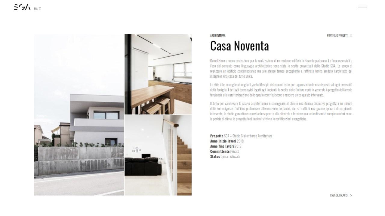 sito internet sga architettura fotografia interni