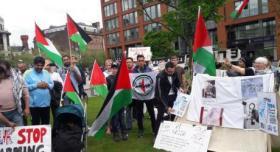 جبهة النضال الشعبي في بريطانيا تنظم اعتصام بمناسبة يوم النكبة الفلسطينية