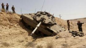 انقلاب دبابة ميركافا إسرائيلية شمال القطاع