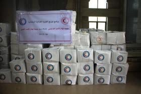 بدعم من الهلال الاحمر الكويتي توزيع مساعدات غذائية
