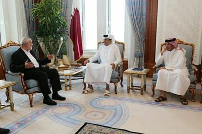 حركة حماس تكشف تفاصيل اجتماع هنية مع الأمير تميم في قطر