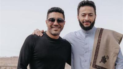 حمادة هلال ومحمد عز من كواليس مسلسل المداح (صورة)