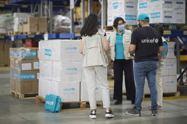 وصول المساعدات الطارئة المقدمة من اليونيسف