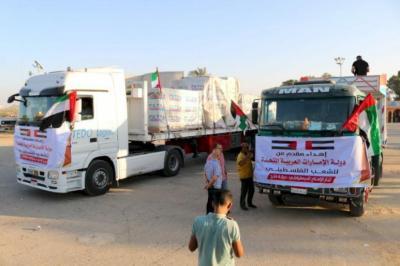 شاهد بالصور.. وصول معدات لإقامة مستشفى إماراتي ميداني في غزة