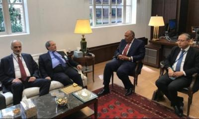 لقاء يجمع وزيري الخارجية المصري والسوري للمرة الأولى منذ سنوات