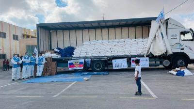شاهد.. روسيا ترسل مساعدات غذائية إلى الضفة الغربية