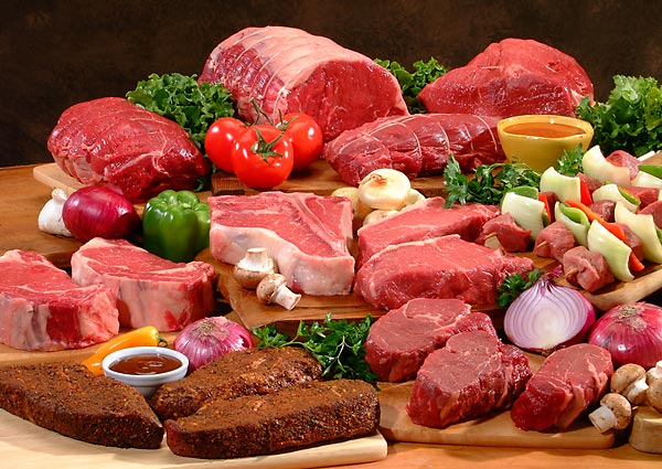 Seafood, meat and poultry