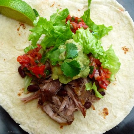 Sour citrus pork tacos with caramelized root vegetables