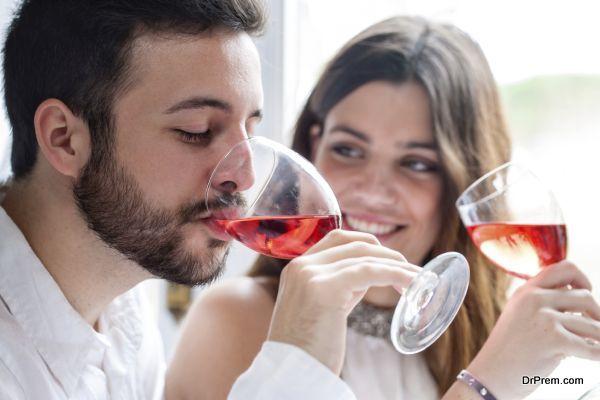 Couple enjoying wine tasting.