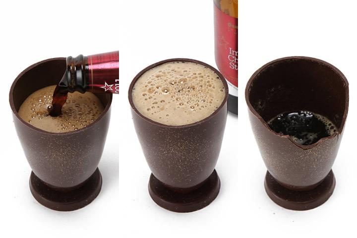 チョコビールと食べられるビールグラス