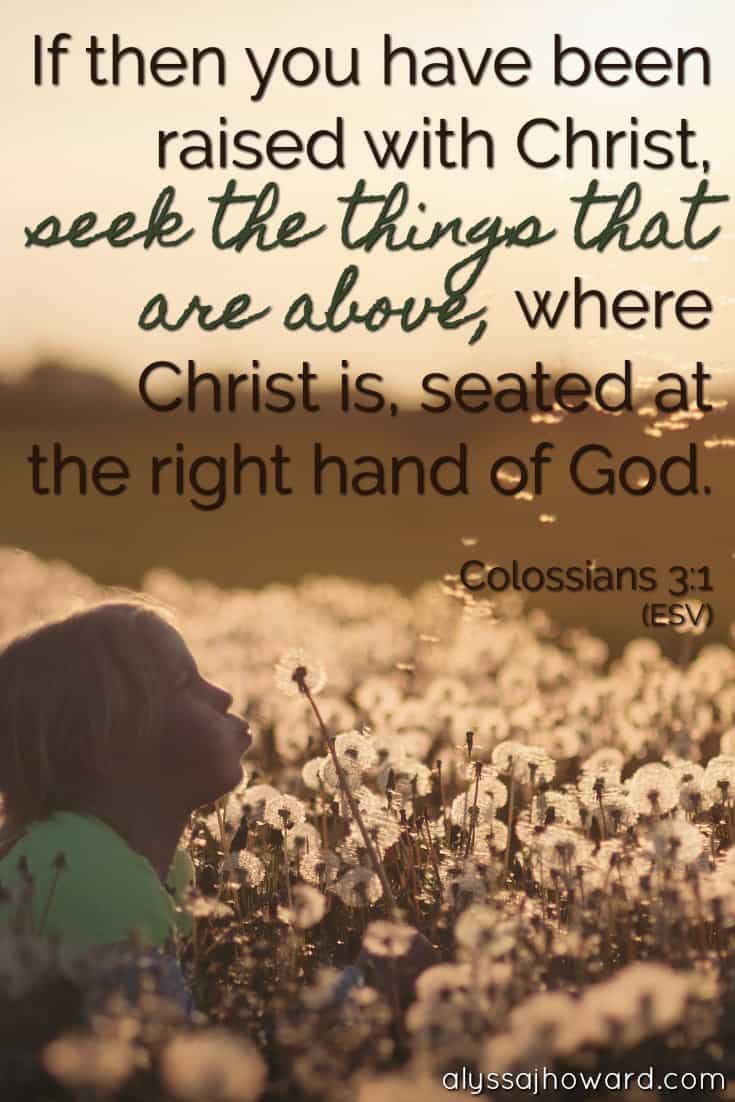 If then you have been raised with Christ, seek the things that are above, where Christ is, seated at the right hand of God. - Colossians 3:1