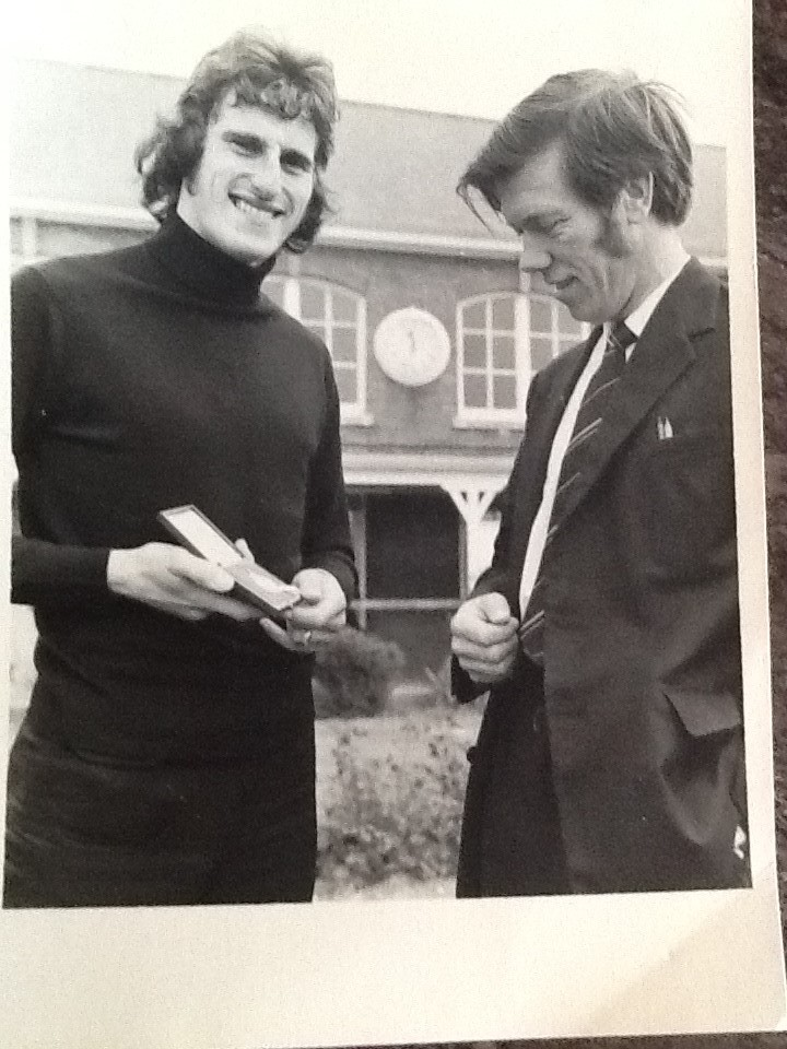 Ray Clemence showing his first Cup Final medal to Mr Mott ...
