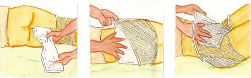 Cambio de pañales Pañales con malla (anatómicos y rectangulares): posición acostado
